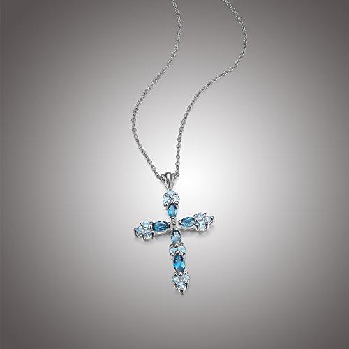 Genuine Blue Topaz - Sterling Silver Genuine Blue Topaz Tonal Cross Pendant Necklace, 18