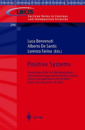 Positive Systems: Theory and Applications: Proceedings of the First Multidisciplinary International Symposium on Positiv