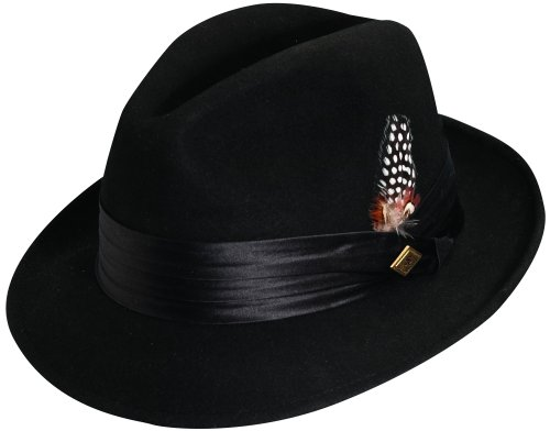 Stacy Adams Men's Crushable Wool Felt Snap Brim Fedora, Black, Medium (Real Fedora)