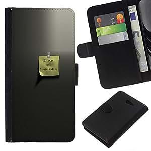 NEECELL GIFT forCITY // Billetera de cuero Caso Cubierta de protección Carcasa / Leather Wallet Case for Sony Xperia M2 // Estimado memo
