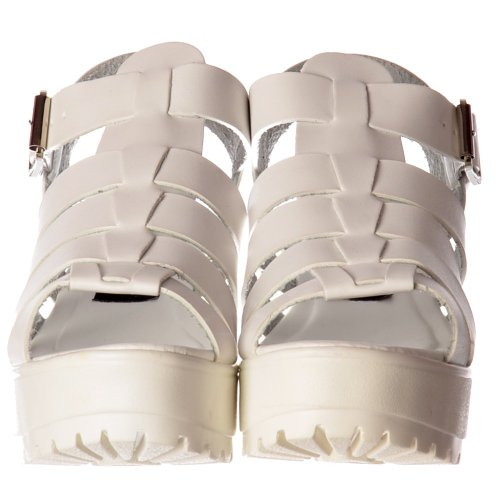Bianco Pu Ecopelle Sandali Flatform Blocco Sandalo Tacco Signore Donne Scarpe 3-8 UK4/EURO37/AUS5/USA6
