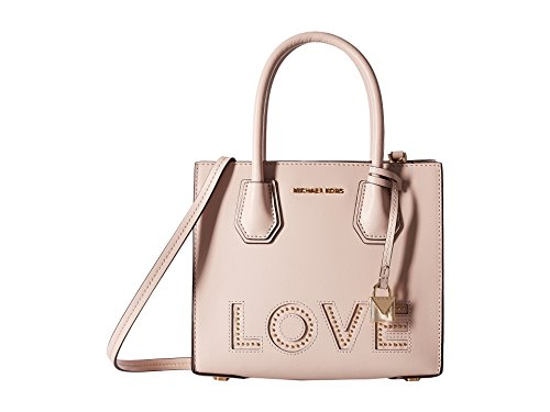 Pink Soft Handbag - Michael Michael Kors Mercer Leather Medium Love Detailed Messenger Handbag in Soft Pink