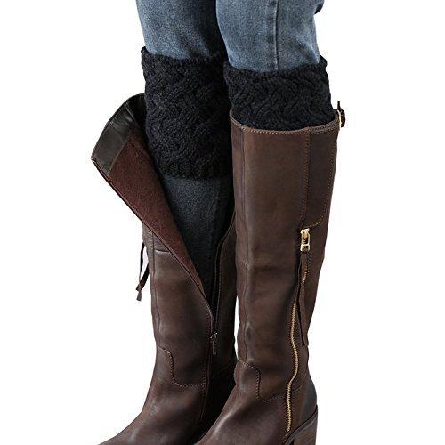 Free Lace Knit Patterns (Desen Women's Crochet Leg Warmers Winter Cable Knit Boot Cuffs (Blackwarmers))