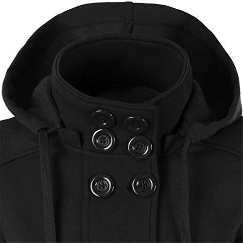 Eleganti Giacca Da Invernale Calda Moda Doppio Donna Nero Classico Cappotti Con Lunghe Casual A Petto Cappuccio Maniche Cappotto qUzCAxfw