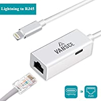 Lightning to RJ45 Ethernet LAN Wired Network Adapter, iPhone Ethernet Adapter, Fast Charging Lightning to RJ45 Ethernet Converter with Lightning Female Interface Charge Cable for iPhone/iPad