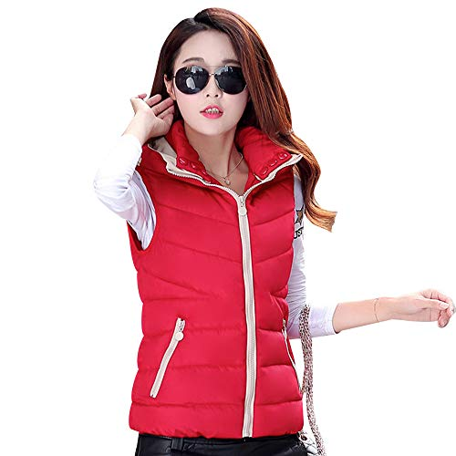 Cotton Section Down Large And Short Gilet Donna Vest Thick Size Bozevon Autumn Red Winter 6wqpHxa0IH
