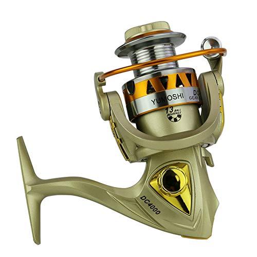 E-KIA Fishing Reel Pole Fishing Equipment,Full Metal Wire Cup, Rocker arm Interchangeable, 5.5: Speed Ratio,Gold,DC5000