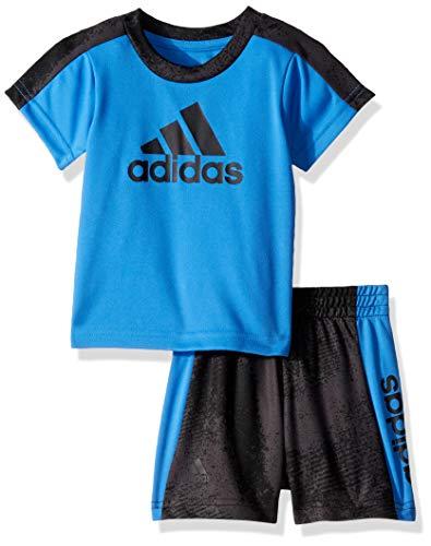 adidas Baby Boys Sleeve Tee and Short Set, Fusion Dark Blue, 12 Months