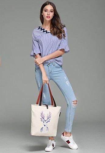 So'each Women's Animal Sika Deer Graphic Canvas Handbag Tote Shoulder Bag
