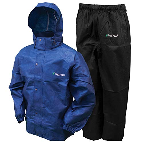 (Frogg Toggs All Sport Rain Suit, Royal Blue Jacket/Black Pants, Size Small)