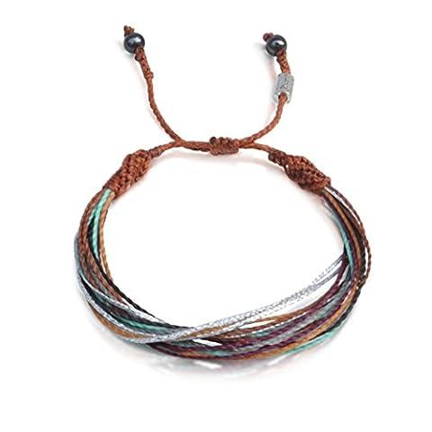 Men's and Women's Multistrand String Surf Beach Bracelet with Hematite Stones in Brown, Rust, Eggplant, Aqua, Grey and Metallic Silver: Handmade Designer Rope Friendship Bracelet by Rumi - Metallic Knot