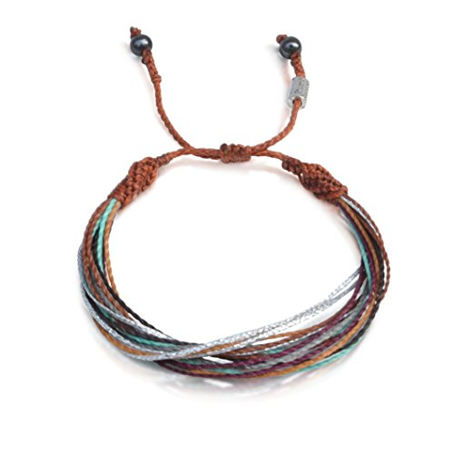 String Surf Beach Bracelet for Men and Women with Hematite Stones in Brown, Rust, Eggplant, Aqua, Grey and Metallic Silver: Handmade Rope Friendship Bracelet by Rumi -