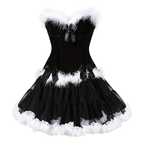 frawirshau Women's Christmas Santa Costume Sexy Corset Dress Bustier Lingerie Top with Skirt Black XL]()