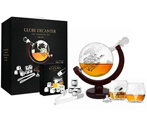 Whiskey Decanter Set World Etched Globe Decanter Antique Ship Glasses  Tongs Bar Funnel Stopper Liquor Dispenser Spirits Scotch Bourbon Vodka Rum Wine Tequila Brandy Perfect Gift 850 ml
