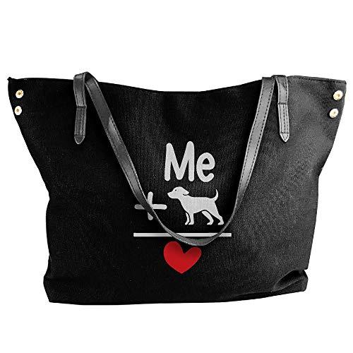 Black Dog Large Women's Shoulder Canvas Handbag Heart Handbags Tote Me SAOfqw6x