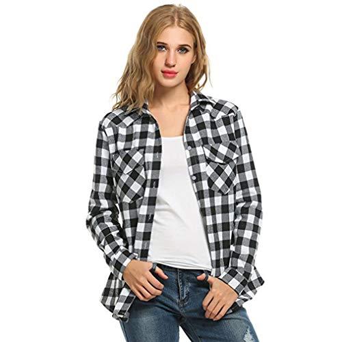 UONQD Women Tartan Plaid Flannel Shirts Roll up Sleeve Tops Button Down Blouse