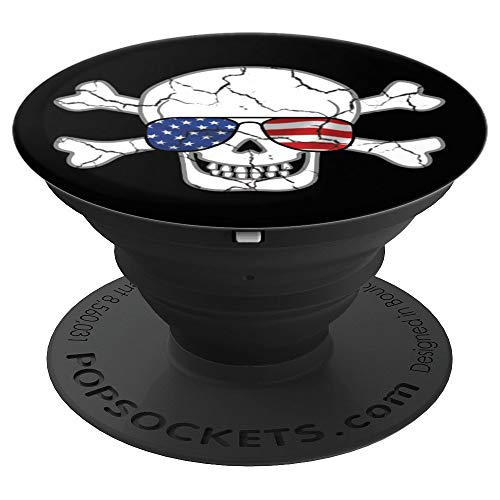 Skull Wearing USA American Flag Aviator Sunglasses  PopSockets Grip and Stand for Phones and ()