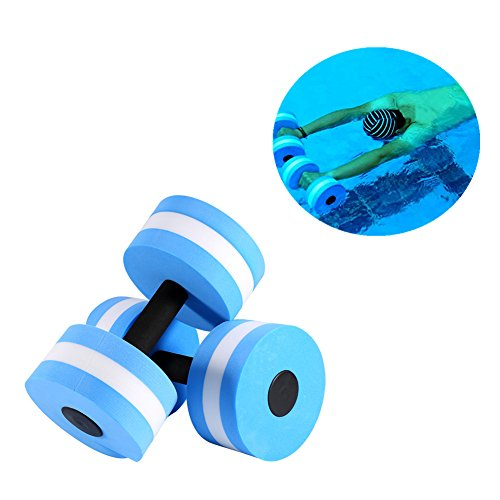 Aqua Fitness Dumbbell,2 Pcs EVA Foam Heavy Resistance Barbells Pool Barbell Float Aqua Exercises Equipment For Water Aerobics by Vbestlife