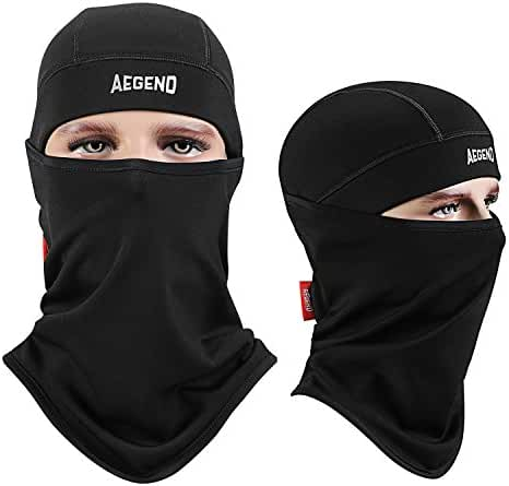 Aegend Balaclava Ski Face Mask Polyester Fleece for Women Men Youth Tactical Balaclava Hood for Motorcycle Snowboard Cycling Outdoors in Winter Neck Warmer or Lightweight Windproof Hat-Black, 1 Piece