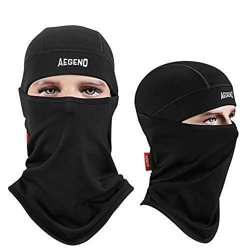 Aegend Balaclava Ski Face Mask Polyester Fleece for Women Men Kids Tactical Balaclava Hood for Motorcycle Snowboard Cycling Outdoors in Winter Neck Warmer or Lightweight Windproof Hat-Black, 1 Piece