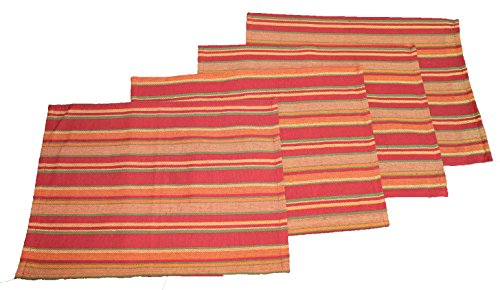 (Twisted Anchor Trading Co Set of 4 Fall Placemats - Casual Cotton Terracotta Stripe Design - Autumn Fall Placemats Home Decor Set)