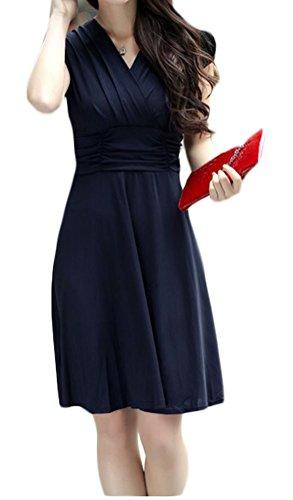 OURS Women's Short Sleeve Empire Waist V-Neck Dress for Summer Casual (L, Navy blue)