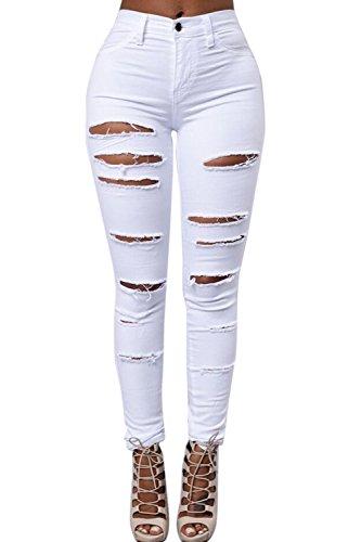 Donne Pantaloni Alte Skinny Denim Kgm Le Wasitiraq Buco Lunghi Vosujotis White Jeans Strappato I 1x5qwARg
