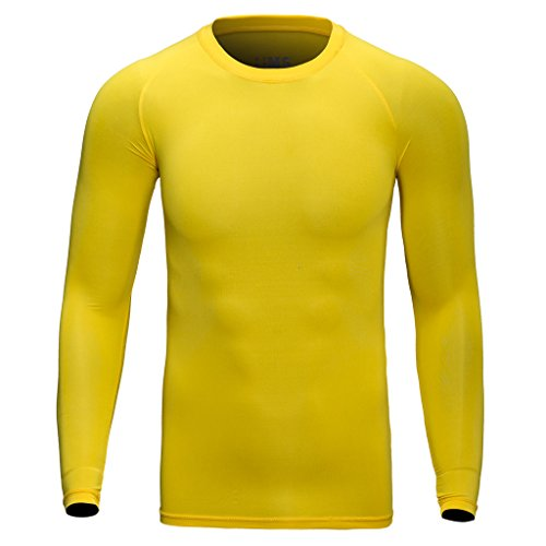Maoko Mens Fitness Compression Long Sleeve Tight T-Shirt Baselayer Yellow