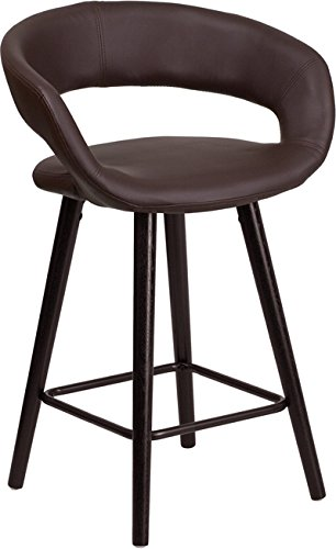 Cappuccino Legs Wood - ModHaus Living Modern Transitional Vinyl Upholstery Counter Height Stool with Rounded Low Back and Cappuccino Wood Finish Legs - Includes Pen (Brown)