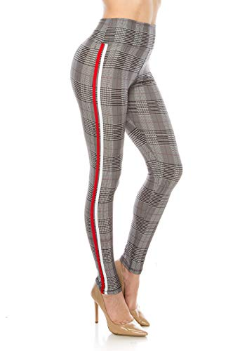 - ALWAYS Leggings Women Yoga Pants - Plaid Checkered Print Pattern High Waisted Workout Striped Buttery Soft Stretchy Red White One Size
