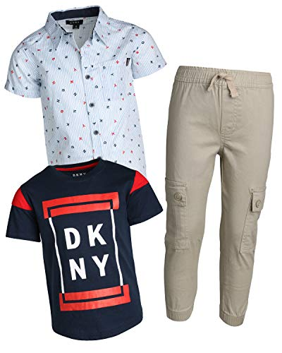 DKNY Little Boys 3-Piece Pant Set with Button Down Shirt, Tee and Jogger, Mouse, Size 6'