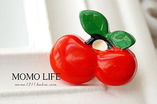 Resin cartoon s small red cherry wood roses cat brooch pin bag