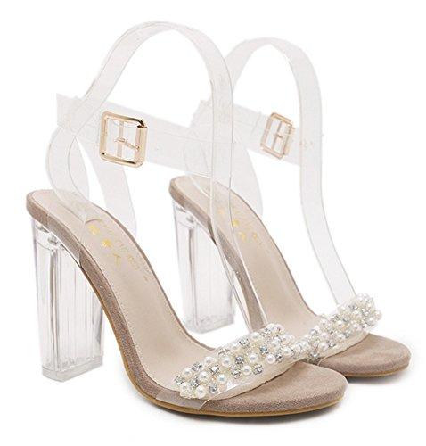 Aisun Damen Glitzer Strass Perlen Transparent Knöchelriemchen Blockabsatz Sandale mit Schnalle Aprikosenfarben