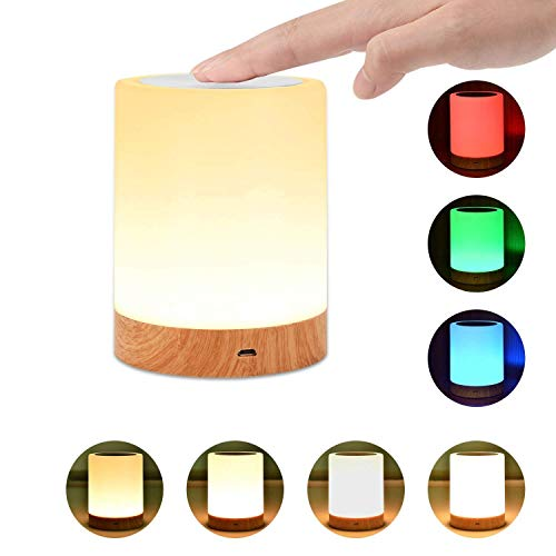 Night Light, UNIFUN Touch Lamp for Bedrooms Living Room Portable Table Bedside Lamps with Rechargeable Internal Battery Dimmable 2800K-3100K Warm White Light & Color Changing RGB ()