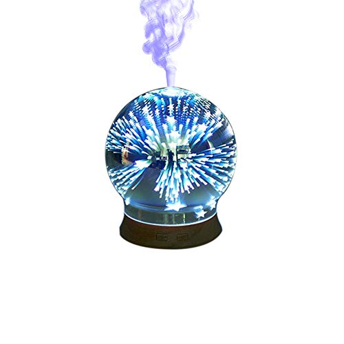 Jslife 3D Effect Glass Colorful Air Humidifier Aromatherapy Machine Oil Diffuser Color Changing Night Light Lamp Humidifier for Home,B,Ukplus