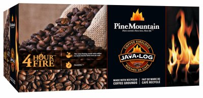 Best Buy! Pine Mountain Java-Log Firelog, 4-Hour Burn Time, Recycled Coffee Grounds, 4 Logs