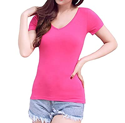 Swtddy Women's V Neck Cross Back Tops Short Sleeve Shirt Blouse Tees T Shirts