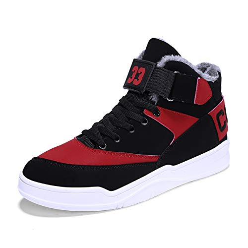 FZUU Men's Fashion High Top Leather Street Sneakers Sports Casual Shoes (10, Red-p65)