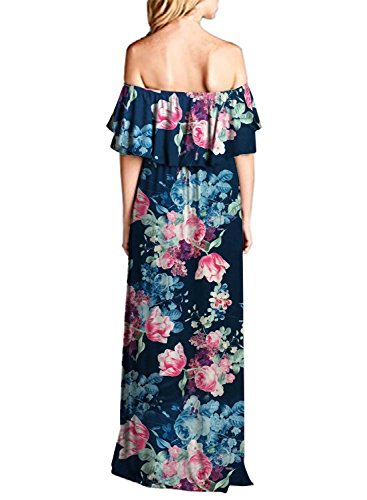 Off Z Casual Party Floral4 Shoulder Womens MIHOLL Ruffle Dress Dresses The Maxi vW5fvTq