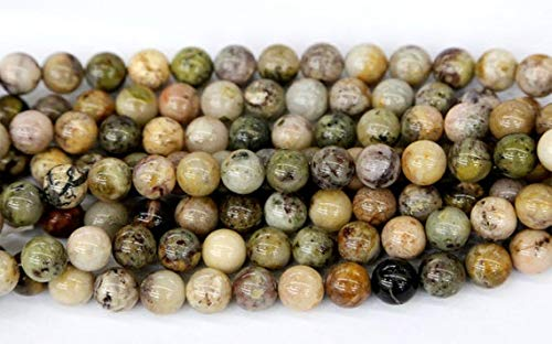 GemAbyss Beads Gemstone 1 Strands Natural Yellow Purple Moss Agate Round Loose Beads 10mm 15 Inch Long 03558 Code-MVG-22949 (Moss Agate Yellow)