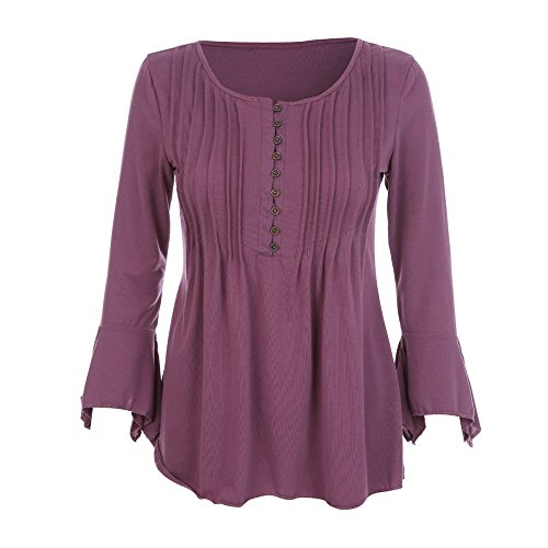 Empire Waist Silk Tunic - Women Slim Shirt Blouse 3/4 Sleeve V Neck Button Plus Size Empire Tee Shirt Top (Light Purple, 5XL)