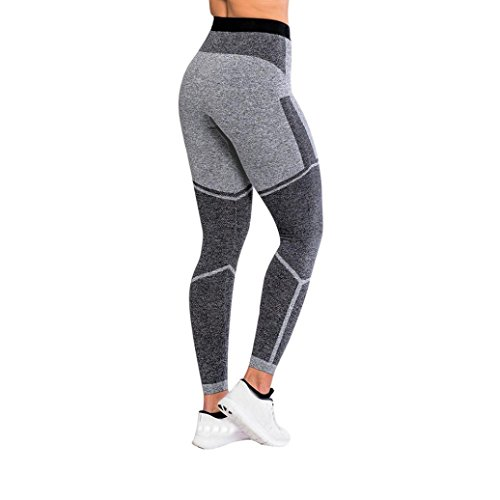 Gillberry Women Sports Gym Yoga Workout Mid Waist Running Pants Fitness Elastic Leggings (Gray, M)