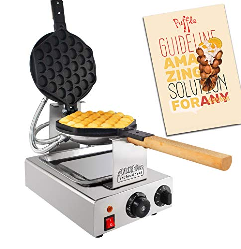 ALDKitchen Bubble Waffle Maker for Egg Puff and Hong Kong Waffles | Stainless Steel with Improved Manual Thermostat | 1 Large Hexagon Shaped Waffle | 110V