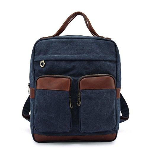 Ainiel Retro Canvas Shoulder Bag Outdoor Men Women Backpack Bagpack Large Canvas Bag Travel (Navy Blue)