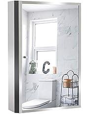HOMCOM Stainless Steel Wall mounted Bathroom Mirror Cabinet 2 Shelves Storage Unit Furniture w/Single Door (60H x 40L x 13D (cm))