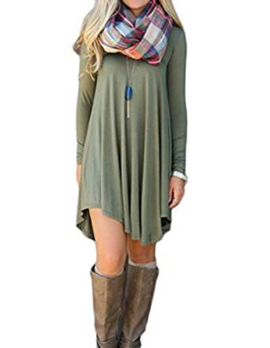 Women's Irregular Hem Long Sleeve Casual T Shirt Flowy Shift Dress Army Green M