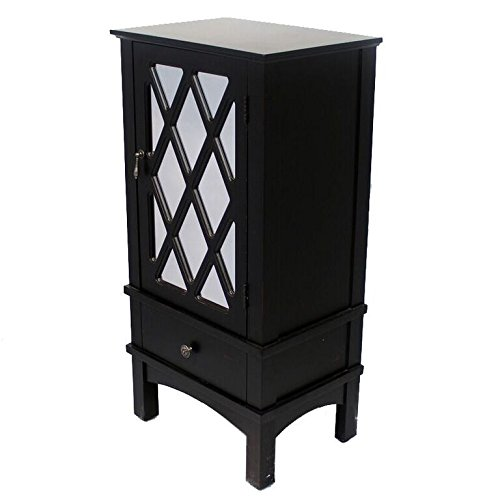 Heather Ann Creations The Cottage Collection Modern Style Wooden Living Room Single Door and Drawer Accent Cabinet with Glass Lattice Inserts, Black (Dining Room Modern Curio Cabinet)