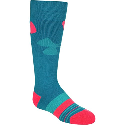 Under Armour UA MTN Big Logo Ski Sock - Girls' Teal/Pink Chroma, - Company Logos Ski