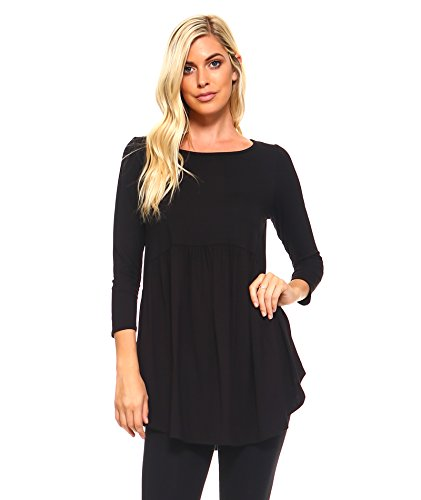 Isaac Liev Women's Baby Doll Long Sleeve Tunic Top (Large, (Flirty Baby Doll)
