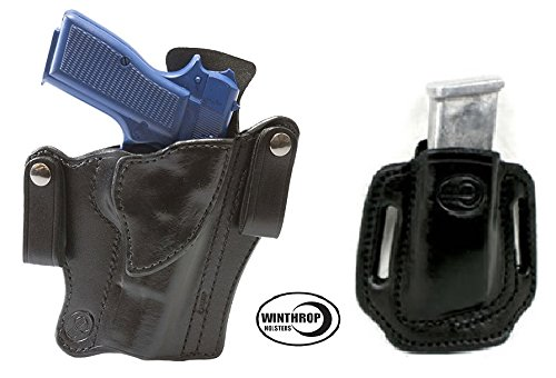 0691 AND 0019 - Browning Hi-Power 4.7 inch IWB Dual Snaps Holster AND OWB Double Stack Magazine Holder R/H Black